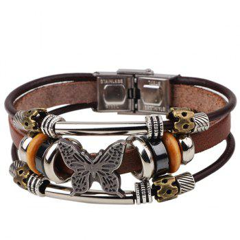 Butterfly Faux Leather Bracelet