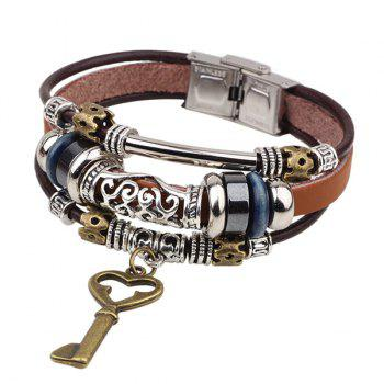 Key Faux Leather Bracelet