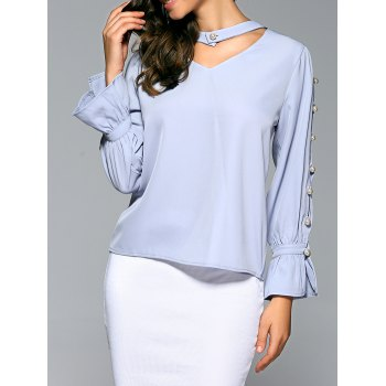 Bell Sleeve Beads Cut Out Chiffon Blouse