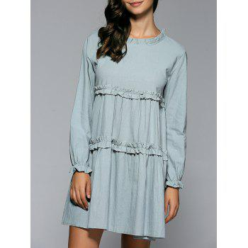 Ruffled Collar Long Sleeve Smock Dress