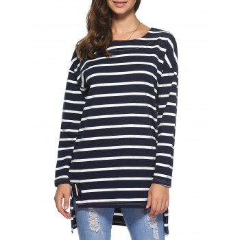 Long Sleeve High Low Hem Stripe Loose Blouse