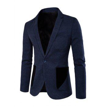 Lapel Color Spliced Patch Pockets One-Button Blazer