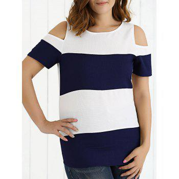 Cold Shoulder Two-Tone Textured T-Shirt