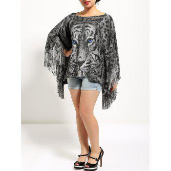 Tiger Print Loose Fitting Fringed Cape - GRAY ONE SIZE