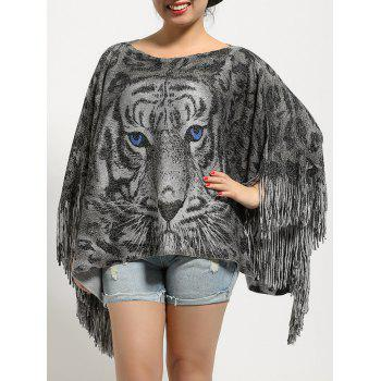 Tiger Print Loose Fitting Fringed Cape