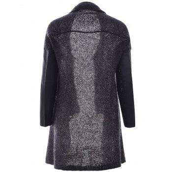 Lace Up Leather Patchwork volantée Cardigan - Gris Noir L