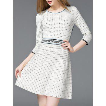 High Waist Dot Print Fit and Flare Dress