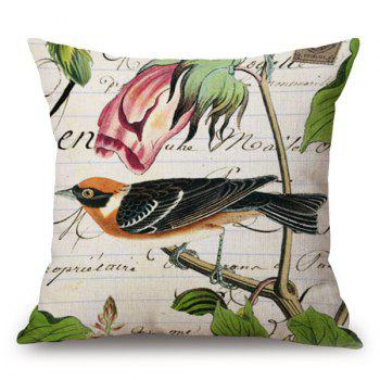 Bird and Flower Design Printing Sofa Pillow Case