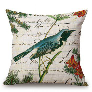 Printing Bird Flower Letter Design Sofa Pillow Case