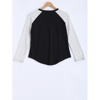 Long Sleeves Striped Pocket Design T-Shirt - BLACK M