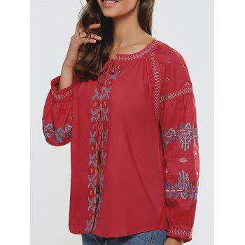 Long Sleeve Loose-Fitting Embroidered Blouse
