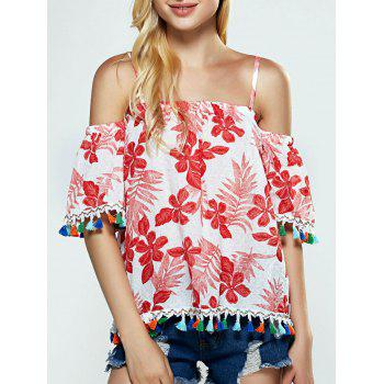 Floral Tassel Cold Shoulder Blouse