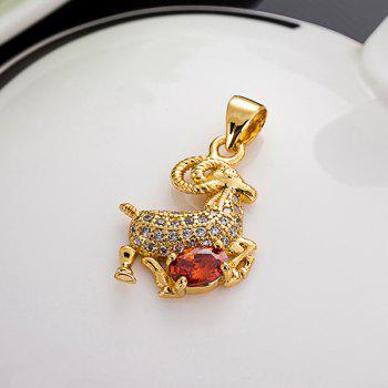 Sheep Rhinestone Pendant -  GOLDEN