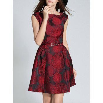 Sleeveless Floral Embroidered Slimming Dress
