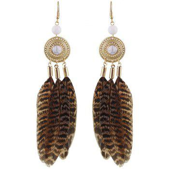 Faux Rammel Bead Feather Drop Earrings