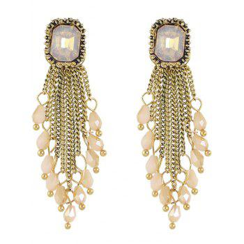 Faux Crystal Geometric Chains Drop Earrings