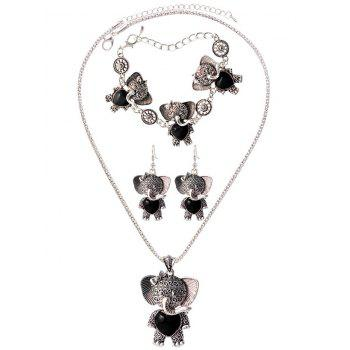 Faux Rammel Elephant Heart Jewelry Set