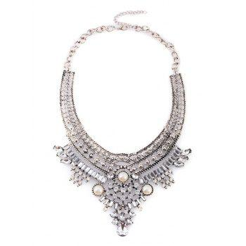 Alloy Rhinestone Faux Pearl Geometric Necklace