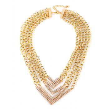 Alloy Rhinestone V-Shaped Chains Layered Necklace