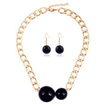 Alloy Round Ball Chain Jewelry Set
