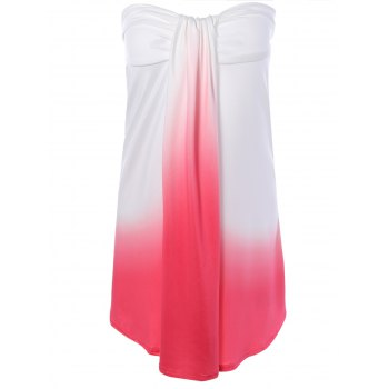 Strapless Ombre Color Mini Dress