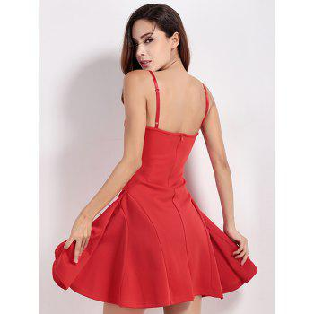 Flounced Mini Slip Party Cocktail Dress - RED M