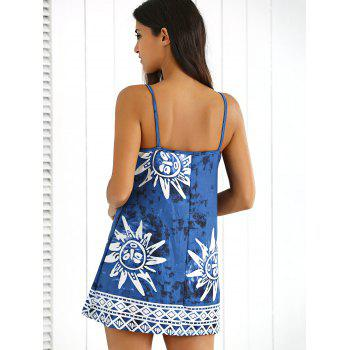Tribal Print Tie-Dyed Summer Dress - CADETBLUE CADETBLUE