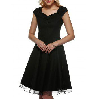 Vintage Cap Sleeve Buttoned Swing Dress