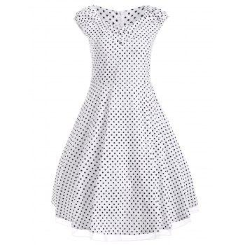 Vintage Polka Dot Print Buttoned Swing Dress