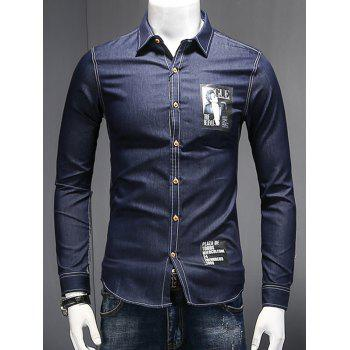 Turn-Down Collar Long Sleeve Letters and Figure Print Chambray Shirt