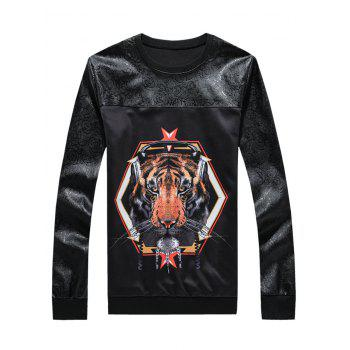 Long Sleeve 3D Tiger Print Spliced Sweatshirt