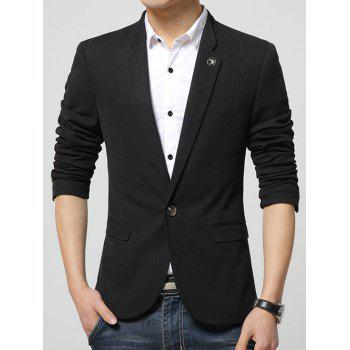 Lapel Collar Flap Pocket Textured Blazer