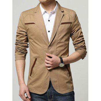 Lapel Collar Seam Pocket Spliced Slim Fit Blazer