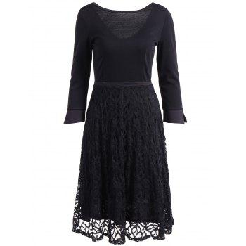 3/4 Sleeve Lace Spliced Flare Dress