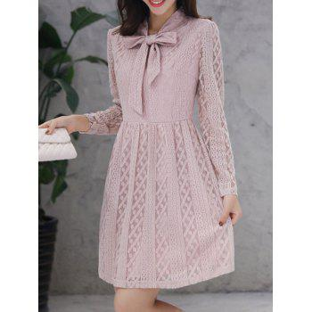 Bow Tie Long Sleeve Lace Dress