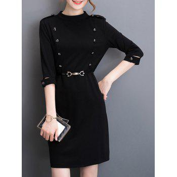 Back Zipper Belted Dress