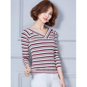 Long Sleeve V Neck Striped T-Shirt - RED RED