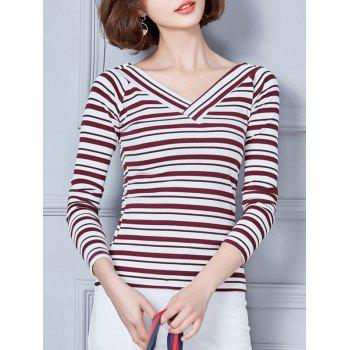 Long Sleeve V Neck Striped T-Shirt - RED M