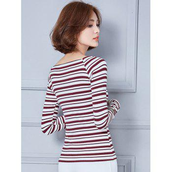 Long Sleeve V Neck Striped T-Shirt - M M