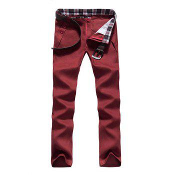 Zipper Fly Button Embellished Straight Leg Pants - WINE RED WINE RED