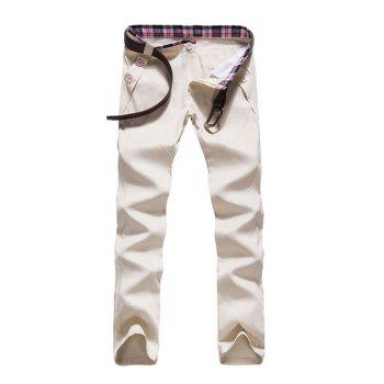 Zipper Fly Button Embellished Straight Leg Pants - OFF-WHITE OFF WHITE