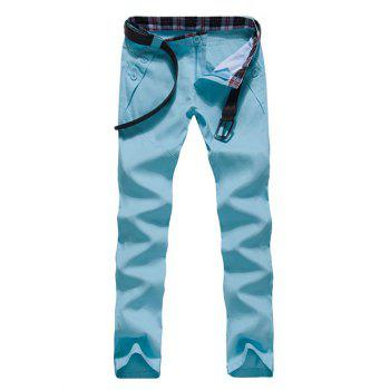 Zipper Fly Button Embellished Straight Leg Pants
