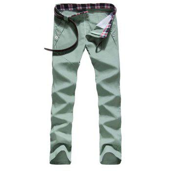 Zipper Fly Button Embellished Straight Leg Pants - MINT GREEN MINT GREEN