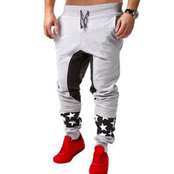 Color Block Spliced Star Print Lace-Up Low-Slung Crotch Beam Feet Jogger Pants