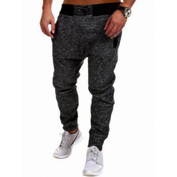 Low-Slung Crotch Beam Feet Lace-Up Jogger Pants
