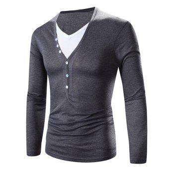 Faux Twinset Color Block Splicing Design V-Neck Long Sleeve T-Shirt