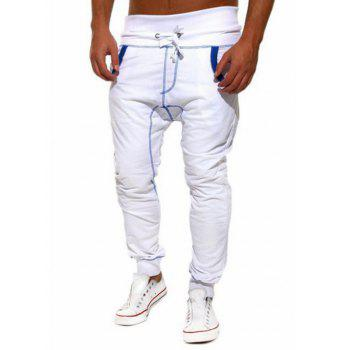 Color Block Suture Low-Slung Crotch Beam Feet Lace-Up Jogger Pants