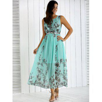 Flowers Print Belted Pleated Dress