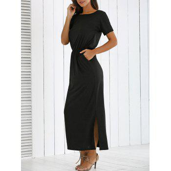 Inclined Shoulder Side Slit Maxi Dress
