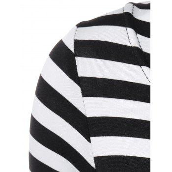 Striped Pleated A Line Dress - WHITE/BLACK S